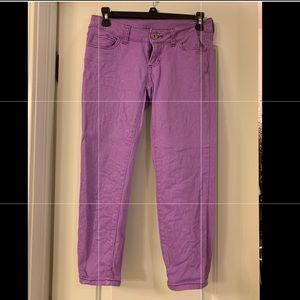 Purple skinny capri/crop pants
